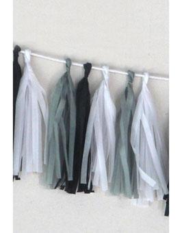 """Guirlande franges en papier de soie """"Hip"""" couleur noir gris blanc A little Lovely Company"""
