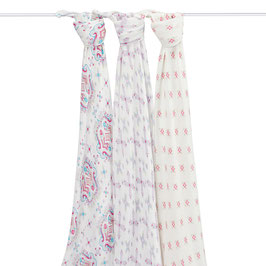 Pack de 3 maxi langes Aden & Anais en bambou Flower child