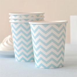 12 gobelets blancs chevrons bleu ciel pastel