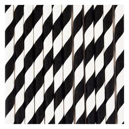 25 pailles en papier rayures noires et blanches