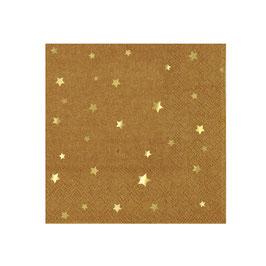 20 petites serviettes kraft étoiles dorées meri meri