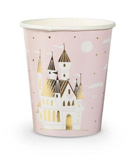 8 gobelets rose pastel avec chateau de princesse