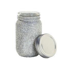 Pot en verre esprit mason jar avec paillettes argent