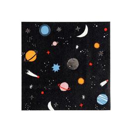 16 Petites serviettes anniversaire espace meri meri