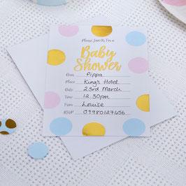 10 invitations Baby Shower fille ou garçon pois bleus, roses et dorés