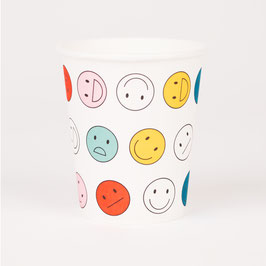 8 gobelets en carton motif Happy faces