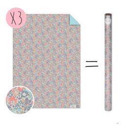 3 feuilles papier cadeau imprimé Liberty pastel Michelle meri meri 50cmsX70cms