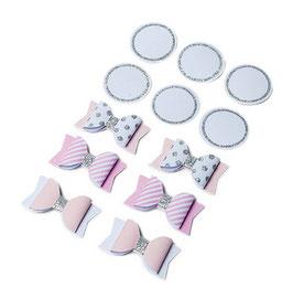 6 noeuds papillons adhésifs blancs, rose pastel touche argent