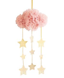 Mobile nuage en tulle vieux rose avec étoiles dorées