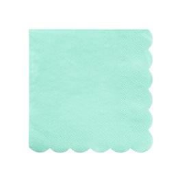 20 petites serviettes vert menthe bordure frise meri meri