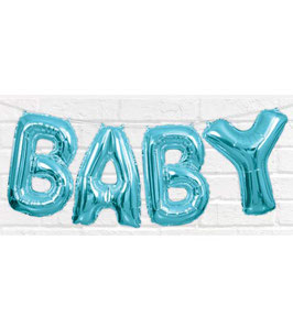 "Ballon métallique bleu ciel écriture ""baby"" majuscule"