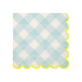 20 Petites serviettes vichy bleu bord jaune fluo