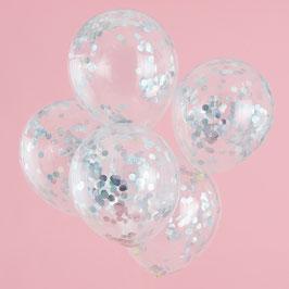 5 Ballons Transparents Confettis Irisés