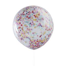 3 ballons géants transparents avec confettis multicolores à l'intérieur 90cms