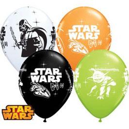 4 ballons blanc, noir, vert, orange Dark Vador et Yoda Star wars