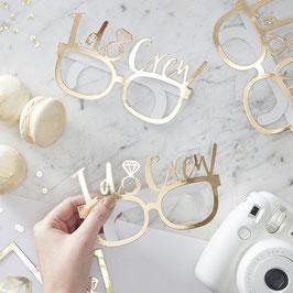 """8 lunettes dorées en carton écriture """"I do crew"""" pour evjf"""