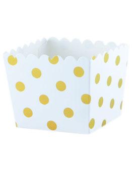 6 Petits pots blancs avec pois dorés pour bonbons ou friandises