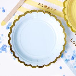 6 petites assiettes bleu pastel bordure dorée 18 cms