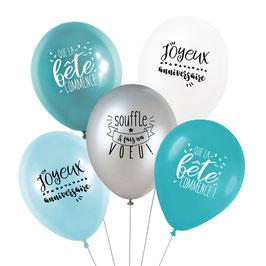 5 ballons anniversaire bleus et blancs