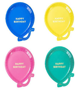 12 Assiettes Ballons 4 Couleurs Ecriture Happy Birthday