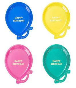 12 assiettes ballons en 4 couleurs écriture Happy Birthday dorée
