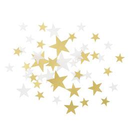 Confettis de table étoiles dorées et blanches transparentes