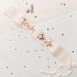 "6 Echarpes ""team bride""pour evjf rose pastel écriture rose gold"