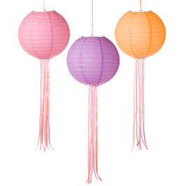 3 lampions en papier couleur Malibu pastel