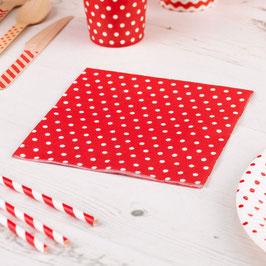 20 serviettes en papier fond rouge pois blancs