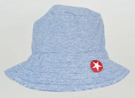 chapeau fond bleu clair rayures blanches marque Kik kid