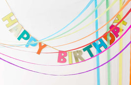 Guirlande Happy Birthday Multicolore Bordure Dorée