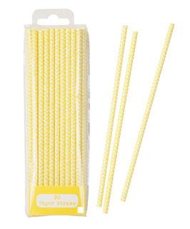 30 pailles chevron jaune et blanc