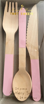24 couverts en bois avec touche rose pastel Meri Meri