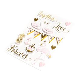 14 stickers roses et dorés