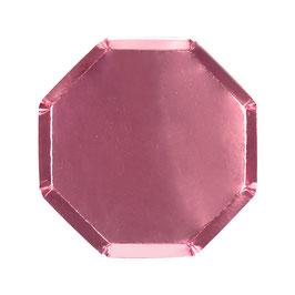 8 petites assiettes octogonales roses métallisées meri meri