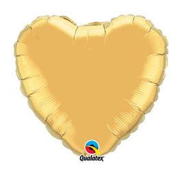 Ballon métallique coeur doré brillant