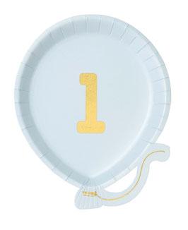 12 Assiettes Ballons Bleu Ciel Chiffre 1 Doré