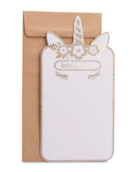 8 invitations licorne dorée et 8 enveloppes kraft