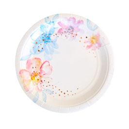 10 petites assiettes avec fleurs pastels