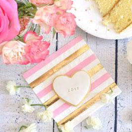 20 petites serviettes rayures et pois rose et dorés