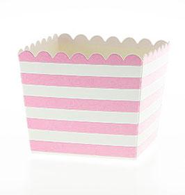 6 Petits pots rayés roses et blancs pour bonbons ou friandises