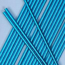 25 Pailles en Papier Bleues Brillantes