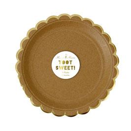 8 petites assiettes kraft bordure dorée meri meri