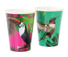 12 grands gobelets oiseaux tropicaux
