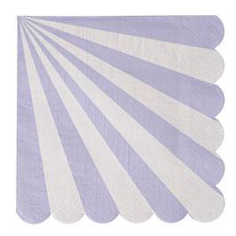 20 grandes serviettes rayures lavande et blanc Meri Meri