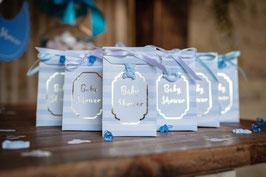 10 pochettes cadeaux rayées bleues écriture Baby Shower dorée