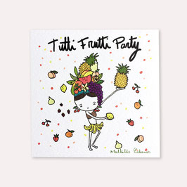 6 invitations anniversaire Tutti Frutti avec 6 enveloppes blanches , Mathilde Cabanas