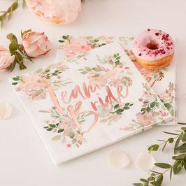 "16 serviettes EVJF fleurs ""Team Bride"" Rose gold"