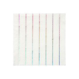 16 petites serviettes blanches rayures argent holographique meri meri
