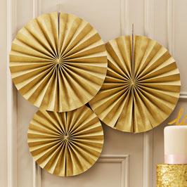 3 Rosaces décoratives dorées